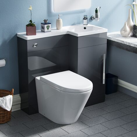 Ellen Soft Close Back To Wall Toilet Vanity WC Unit with Concealed Cistern