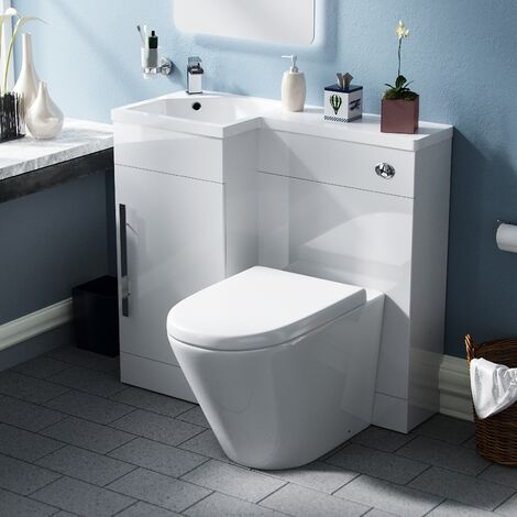 Ellen White Left Hand Vanity Unit with Back to Wall Toilet