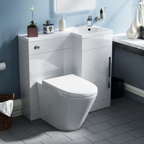 Ellen White Right Hand Vanity Unit Sink with Back To Wall Toilet