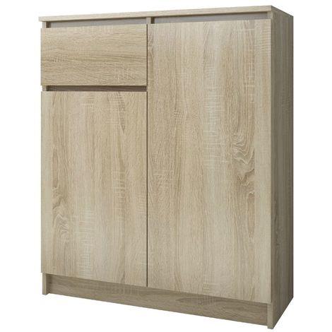 ELLIS - Buffet contemporaine salon/séjour/salle à manger 99x80x40 cm - 1 tiroir + 2 portes - Meuble/Commode design moderne - Sonoma