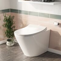 Elliss Round Back to Wall Rimless Toilet Pan + Soft Close Seat