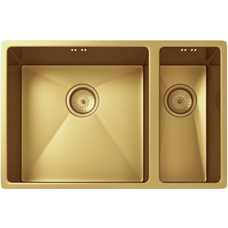 Image of Ellsi Elite 1.5 Bowl Inset or Undermounted Stainless Steel Kitchen Sink & Waste Gold