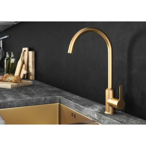 Ellsi Entice Kitchen Mixer Swivel Spout Basin Sink Tap Lever Mono Brushed Gold
