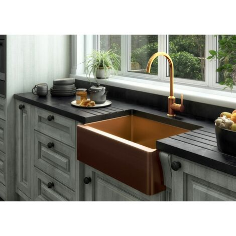 Ellsi Excel Single Bowl Kitchen Sink Stainless Rectangle Undermount Copper Waste