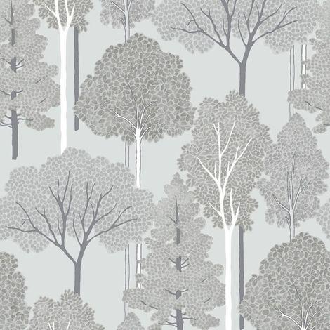 Ellwood Tree Wallpaper Silver Grey Glitter Metallic Nature Textured Arthouse