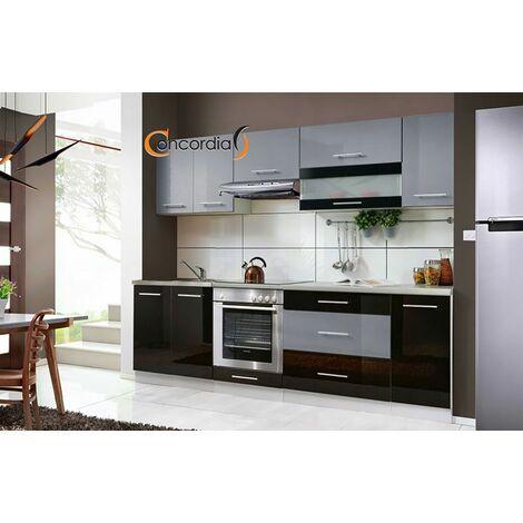 ELM 260 | Cuisine Complète 2,6 m | 8 pcs + Plan de travail INCLUS | Ensemble meubles cuisine linéaire + Armoire four encastrable - Noir/Gris