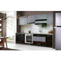 ELM 260 | Cuisine Complète 2,6 m | 8 pcs + Plan de travail INCLUS | Ensemble meubles cuisine linéaire + Armoire four encastrable | Noir/Gris