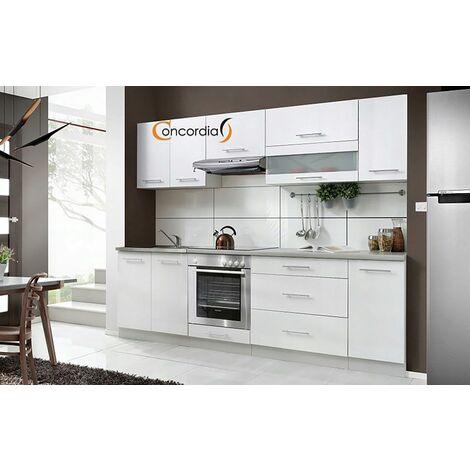 ELM 260 | Cuisine Complète L 2,6 m | 8 pcs + Plan de travail INCLUS | Ensemble meubles cuisine linéaire + Armoire four encastrable - Blanc