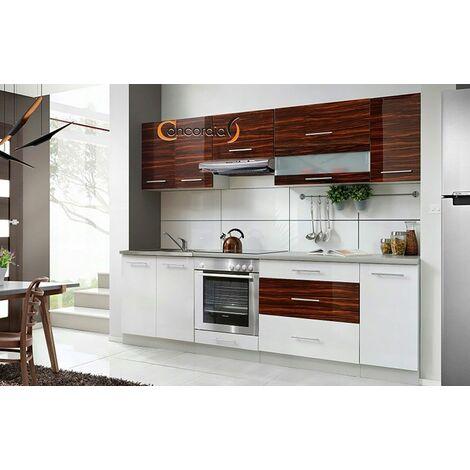 ELM 260 | Cuisine Complète L 2,6 m | 8 pcs / Plan de travail INCLUS | Ensemble meubles cuisine linéaire + Armoire four encastrable - Blanc/Heban