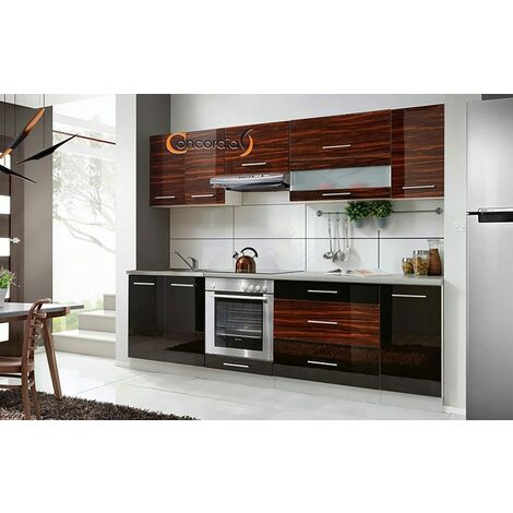 ELM 260 | Cuisine Complète L 2,6 m 8 pcs + Plan de travail INCLUS | Ensemble meubles cuisine linéaire + Armoire four encastrable - Noir/Heban