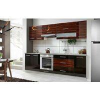 ELM 260 | Cuisine Complète L 2,6 m 8 pcs + Plan de travail INCLUS | Ensemble meubles cuisine linéaire + Armoire four encastrable | Noir/Heban