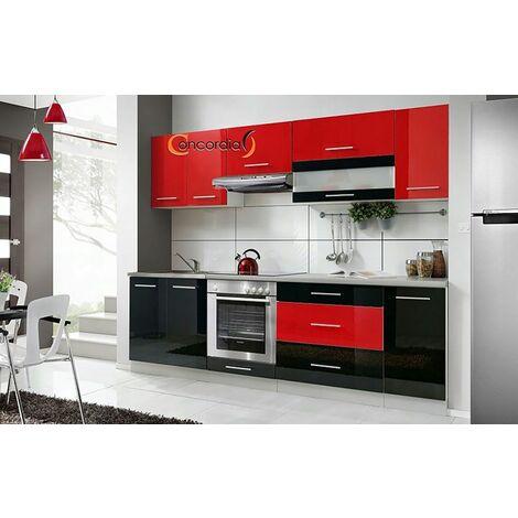 ELM 260 | Cuisine Complète L 2,6 m 8 pcs + Plan de travail INCLUS | Ensemble meubles cuisine linéaire + Armoire four encastrable - Noir/Rouge