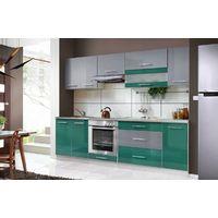 ELM 260 | Cuisine Complète L 260 cm | 8 pcs + Plan de travail INCLUS | Ensemble meubles cuisine linéaire + Armoire four encastrable | Turquoise/Gris