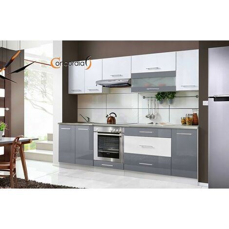ELM 260 | Cuisine Complète L 2,6m | 8 pcs + Plan de travail INCLUS | Ensemble meubles cuisine linéaire + Armoire four encastrable - Gris/Blanc