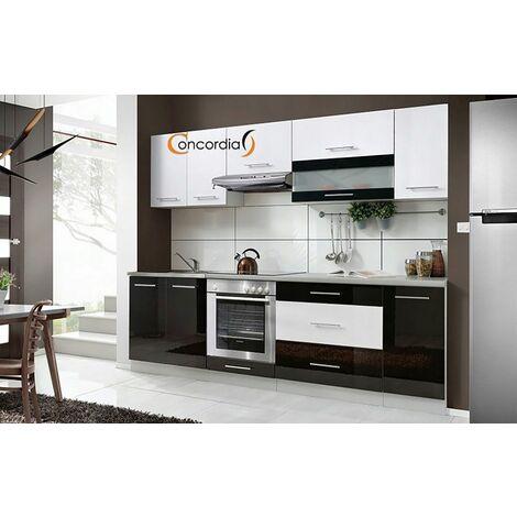 ELM 260 | Cuisine Complète L2,6 m | 8 pcs + Plan de travail INCLUS | Ensemble meubles cuisine linéaire + Armoire four encastrable - Noir/Blanc