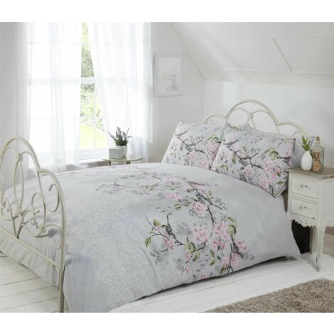 Eloise Single Bed Duvet Cover Set with Matching Pillowcase, birds and floral