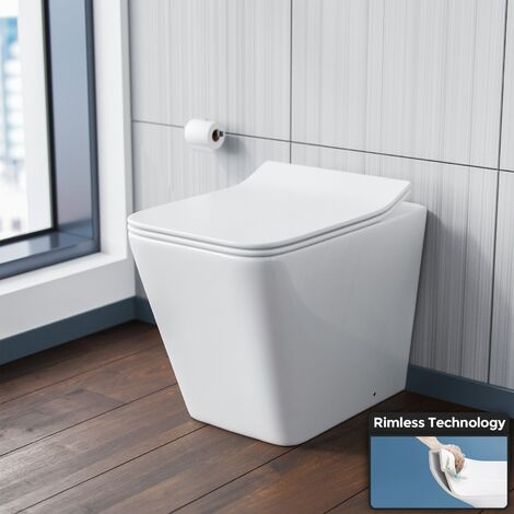 Elora Back To Wall Rimless WC Toilet Pan & Soft Close Seat + Concealed Cistern