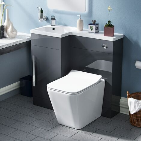 Elora Cloakroom 900 Left Hand Grey Vanity Unit with Rimless Toilet