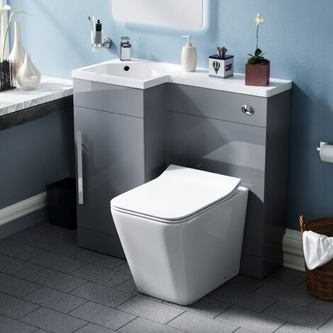 Elora Cloakroom 900 Left Hand Light Grey WC Vanity Unit with Rimless Toilet