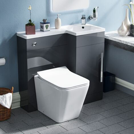 Elora Cloakroom 900 Right Hand Grey Vanity Unit with Rimless Toilet