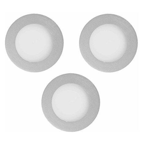 Els Banys 3752 39 08-Kit de 3 Spots Encastrables LED extra plate Aluminium 3 W 8,5 x 8,5 cm couleur gris
