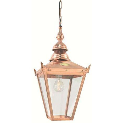 Elstead - 1 Light Outdoor Ceiling Chain Lantern Copper IP44, E27