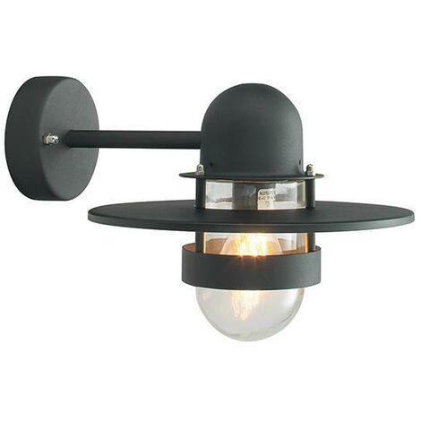 Elstead - 1 Light Outdoor Fisherman Dome Wall Lantern Light Black IP55, E27