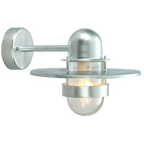 Elstead - 1 Light Outdoor Fisherman Dome Wall Lantern Light Galvanised IP55, E27