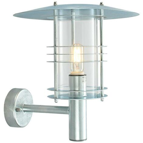 Elstead - 1 Light Outdoor Wall Lantern Light Galvanised IP54, E27