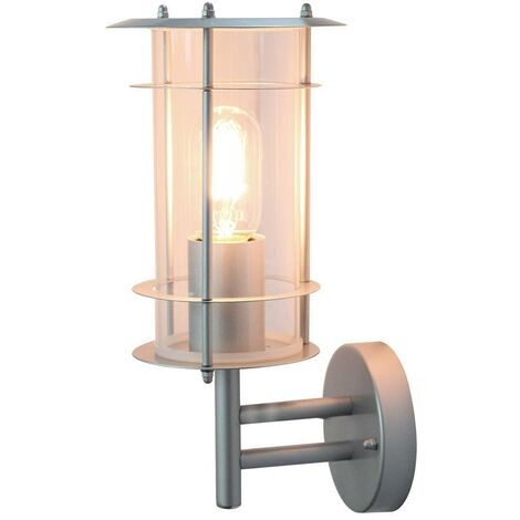 Elstead - 1 Light Outdoor Wall Lantern Light Silver IP44, E27
