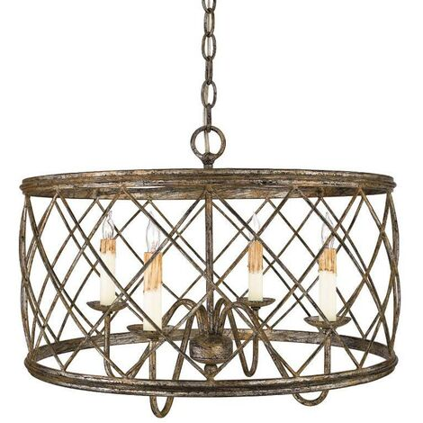 Elstead - 4 Light Cage Ceiling Pendant Century Silver Leaf, E14