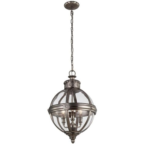 Elstead Adams - 3 Light Ceiling Chandelier Pendant Light Antique Nickel, E14
