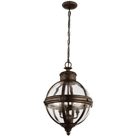 Elstead Adams - 3 Light Ceiling Chandelier Pendant Light British Bronze, E14