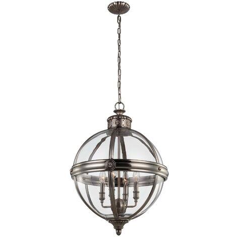Elstead Adams - 4 Light Ceiling Chandelier Pendant Light Antique Nickel, E14