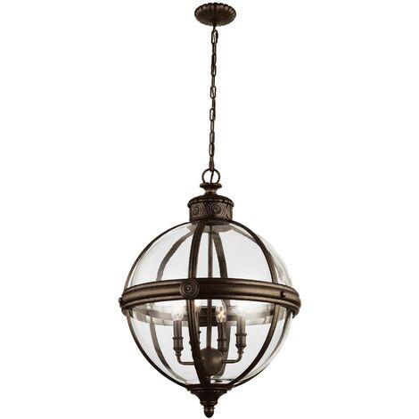 Elstead Adams - 4 Light Ceiling Chandelier Pendant Light British Bronze, E14