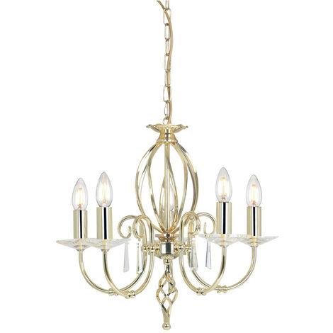 Elstead Aegean - 5 Light Chandelier Polished Brass Finish, E14