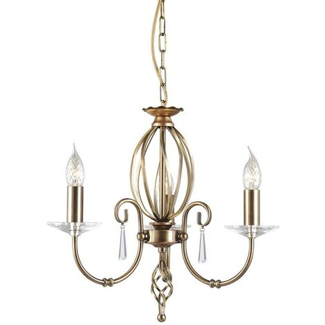 Elstead Aegean - Chandelier 3 Light Aged Brass Finish, E14