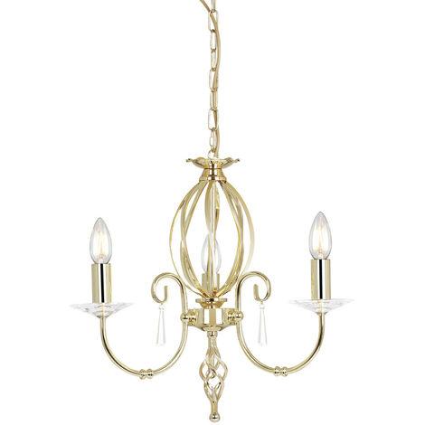 Elstead Aegean - Chandelier 3 Light Polished Brass Finish, E14
