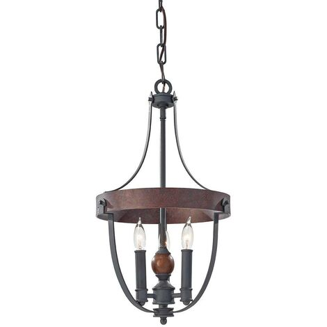 Elstead Alston - 3 Light Ceiling Chandelier Pendant Light Antique Forged Iron, Acorn Wood, Charcoal, E14