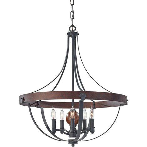 Elstead Alston - 5 Light Ceiling Chandelier Pendant Light Antique Forged Iron, Acorn Wood, Charcoal, E14