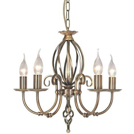 Elstead Artisan - 5 Light Chandelier Aged Brass Finish, E14