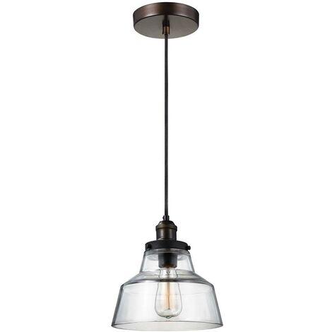 Elstead Baskin - 1 Light Dome Ceiling Pendant Brass, Dark Zinc, E27