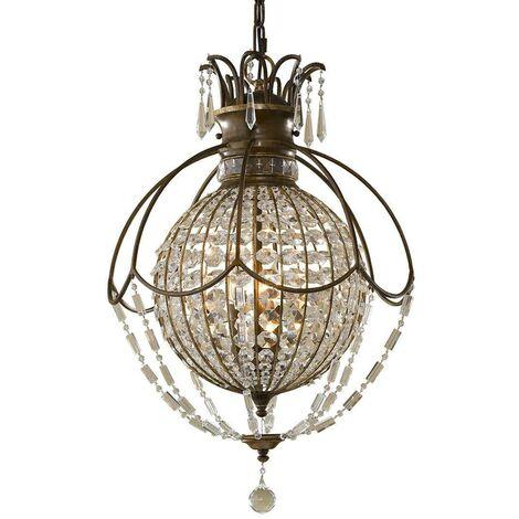 Elstead Bellini - 3 Light Ceiling Chandelier Pendant Light British Bronze, Oxidized Bronze, E14