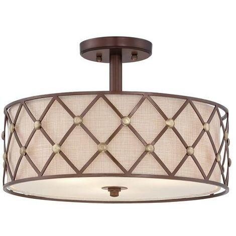 Elstead Brown Lattice - 3 Light Semi Flush Ceiling Light Copper, E27