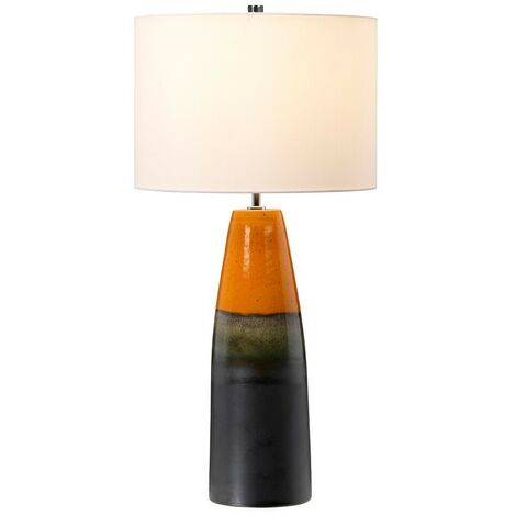 Elstead Burnt Oak - Table Lamp with Cylindrical Shade