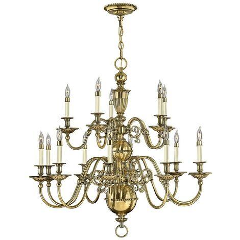 Elstead Cambridge - 15 Light Candle Chandelier, Burnished Brass