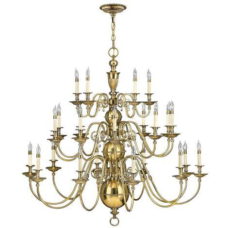 Elstead Cambridge - 25 Light Candle Chandelier, Burnished Brass
