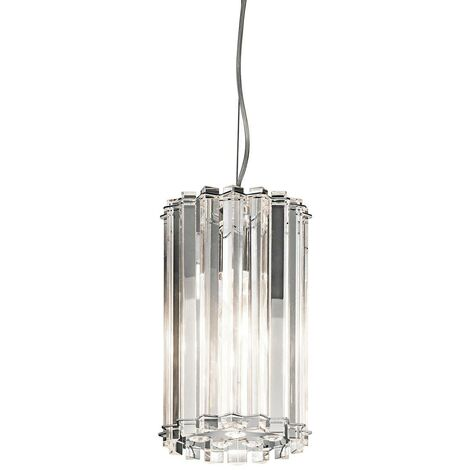 Elstead Crystal Skye - 2 Light Round Mini Ceiling Pendant Light Chrome, Crystal Glass, G9