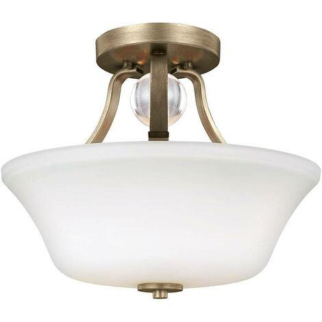 Elstead Evington - 2 Light Semi Flush Ceiling Light Gold, E27