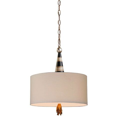 Elstead Flambeau - 2 Light Ceiling Pendant Black, Cream, Gold Leaf, E27